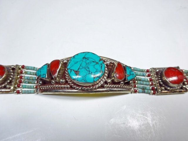 """TURQUOISE & CORAL BRACELET, APPROX 7""""L - 3"""