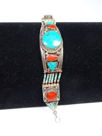 """TURQUOISE & CORAL BRACELET, APPROX 7""""L - 4"""
