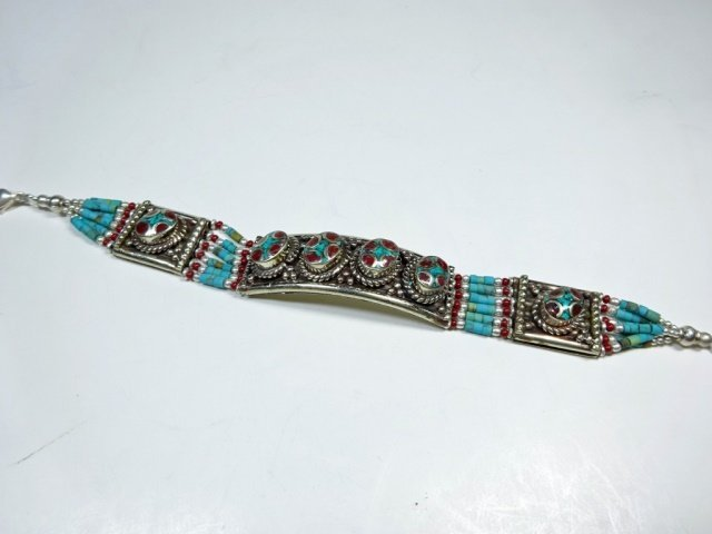 """TURQUOISE & CORAL BRACELET, APPROX 7""""L - 2"""