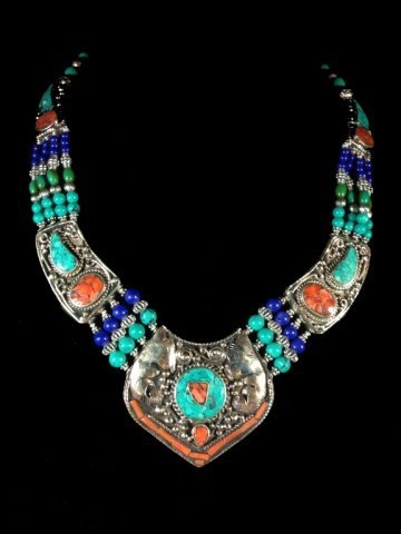 """NECKLACE WITH TURQUOISE, LAPIS & CORAL, APPROX 16""""L"""