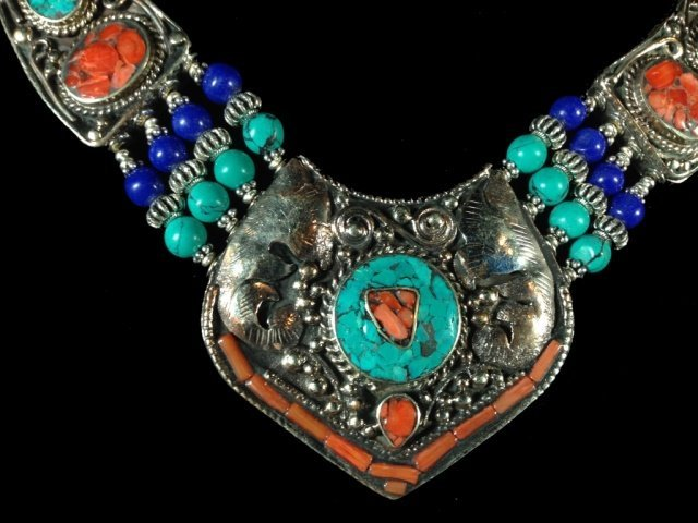 """NECKLACE WITH TURQUOISE, LAPIS & CORAL, APPROX 16""""L - 2"""
