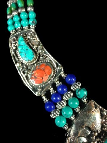 """NECKLACE WITH TURQUOISE, LAPIS & CORAL, APPROX 16""""L - 3"""
