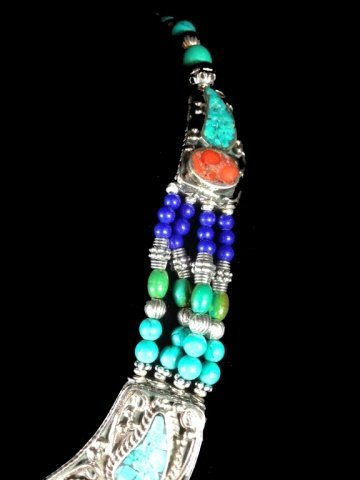 """NECKLACE WITH TURQUOISE, LAPIS & CORAL, APPROX 16""""L - 4"""