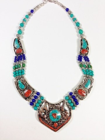 """NECKLACE WITH TURQUOISE, LAPIS & CORAL, APPROX 16""""L - 5"""