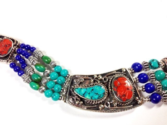 """NECKLACE WITH TURQUOISE, LAPIS & CORAL, APPROX 16""""L - 7"""