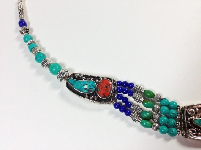 """NECKLACE WITH TURQUOISE, LAPIS & CORAL, APPROX 16""""L - 8"""