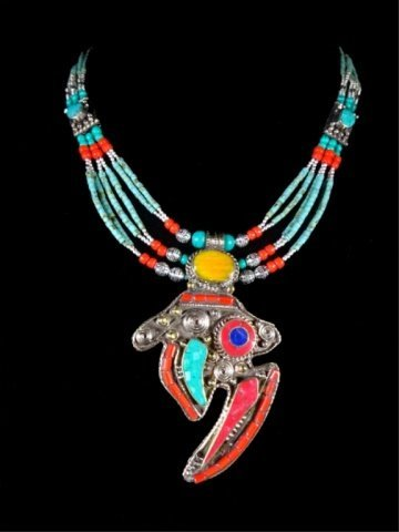 NECKLACE WITH TURQUOISE, LAPIS & CORAL, WITH PENDANT,