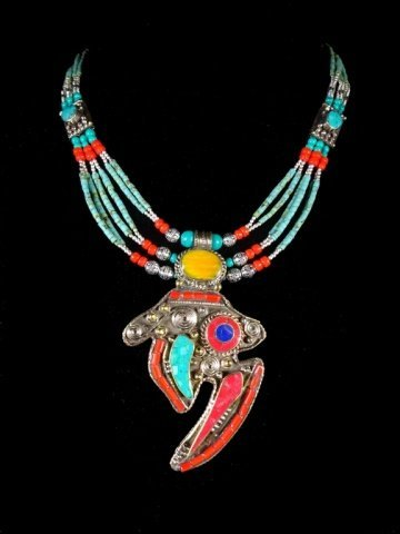 NECKLACE WITH TURQUOISE, LAPIS & CORAL, WITH PENDANT, - 2