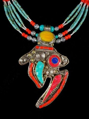 NECKLACE WITH TURQUOISE, LAPIS & CORAL, WITH PENDANT, - 3