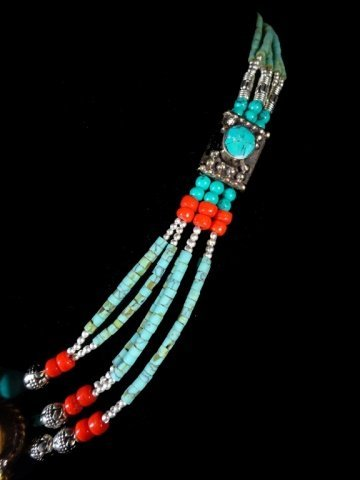 NECKLACE WITH TURQUOISE, LAPIS & CORAL, WITH PENDANT, - 4