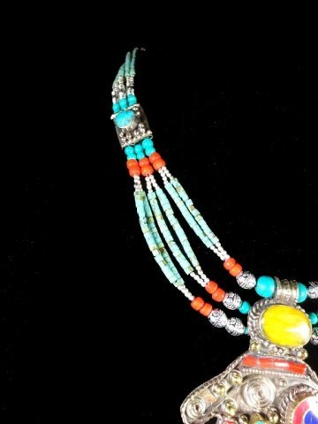 NECKLACE WITH TURQUOISE, LAPIS & CORAL, WITH PENDANT, - 5