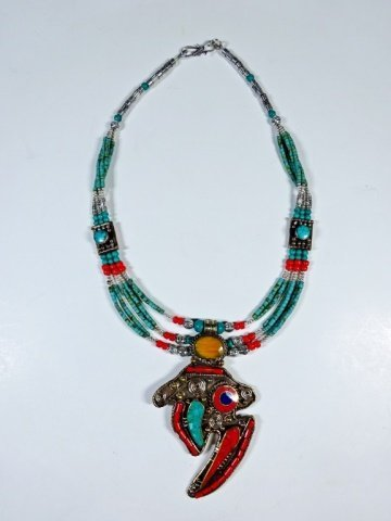 NECKLACE WITH TURQUOISE, LAPIS & CORAL, WITH PENDANT, - 6