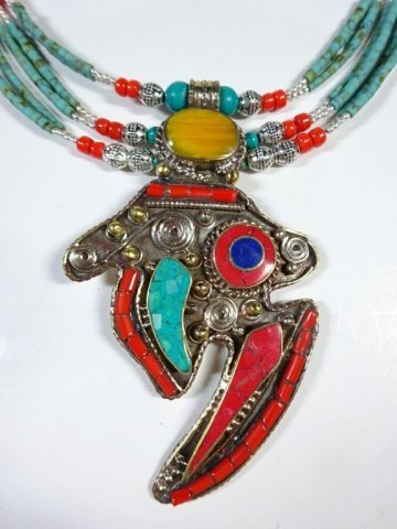 NECKLACE WITH TURQUOISE, LAPIS & CORAL, WITH PENDANT, - 7