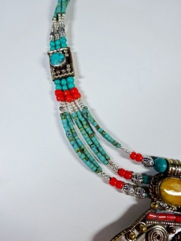 NECKLACE WITH TURQUOISE, LAPIS & CORAL, WITH PENDANT, - 9