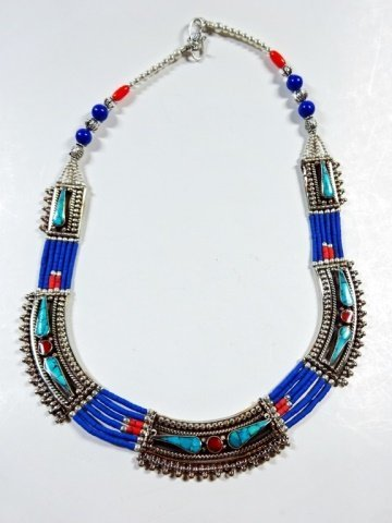 "NECKLACE WITH TURQUOISE, LAPIS & CORAL, APPROX 19""L"
