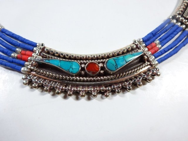 "NECKLACE WITH TURQUOISE, LAPIS & CORAL, APPROX 19""L - 2"