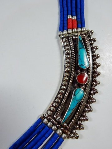 "NECKLACE WITH TURQUOISE, LAPIS & CORAL, APPROX 19""L - 3"