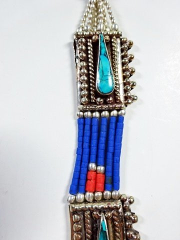 "NECKLACE WITH TURQUOISE, LAPIS & CORAL, APPROX 19""L - 4"