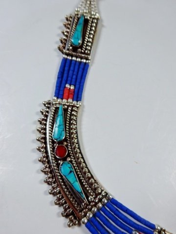 "NECKLACE WITH TURQUOISE, LAPIS & CORAL, APPROX 19""L - 5"