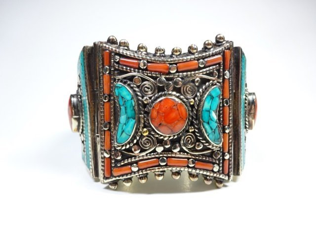 TURQUOISE & CORAL BRASS CUFF BRACELET, ANTIQUED WHITE
