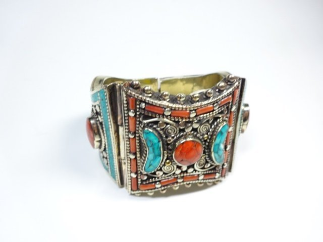 TURQUOISE & CORAL BRASS CUFF BRACELET, ANTIQUED WHITE - 2