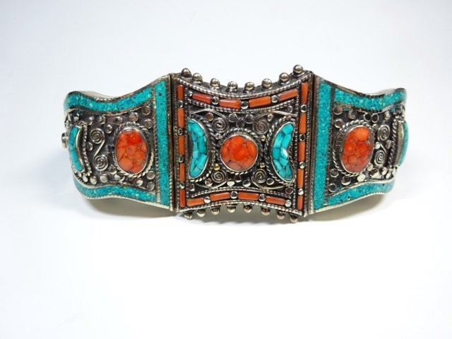 TURQUOISE & CORAL BRASS CUFF BRACELET, ANTIQUED WHITE - 3