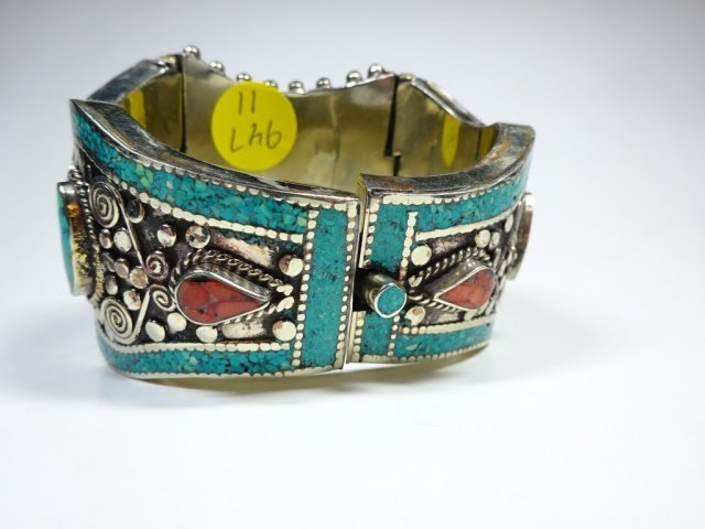 TURQUOISE & CORAL BRASS CUFF BRACELET, ANTIQUED WHITE - 5