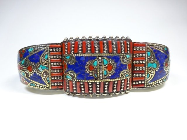 TURQUOISE & CORAL BRASS CUFF BRACELET, ANTIQUED WHITE - 6