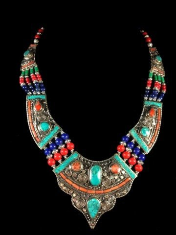 "NECKLACE WITH TURQUOISE, LAPIS & CORAL, APPROX 18""L"