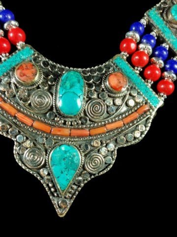 "NECKLACE WITH TURQUOISE, LAPIS & CORAL, APPROX 18""L - 2"