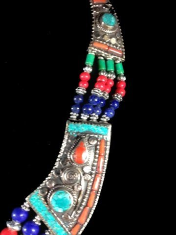 "NECKLACE WITH TURQUOISE, LAPIS & CORAL, APPROX 18""L - 4"