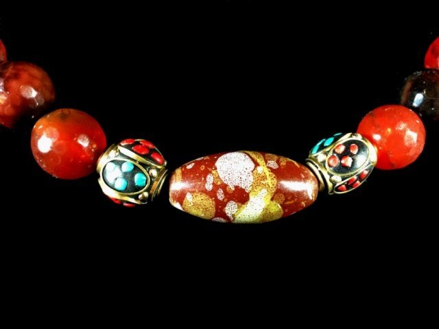 BEAD NECKLACE, FACETED STONES & BEADS WITH TURQUOISE & - 2