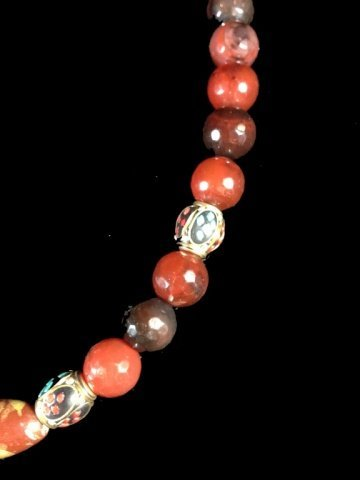 BEAD NECKLACE, FACETED STONES & BEADS WITH TURQUOISE & - 4