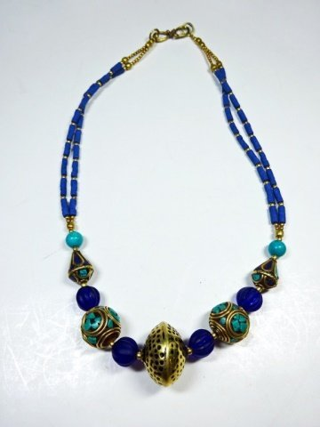 TURQUOISE & LAPIS NECKLACE, WITH BLUE GLASS BEADS,