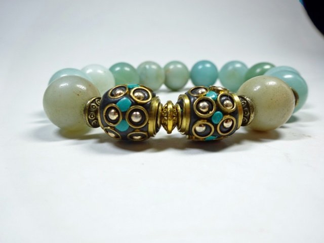 TURQUOISE ACCENTED BEAD STRETCH BRACELET, NATURAL GREEN - 2