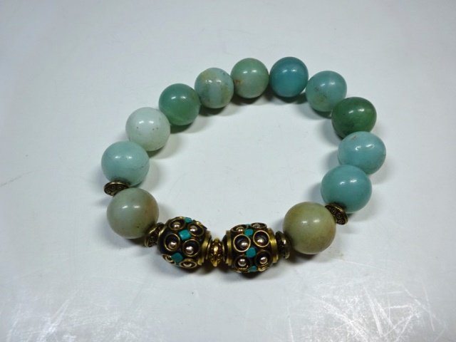 TURQUOISE ACCENTED BEAD STRETCH BRACELET, NATURAL GREEN - 4