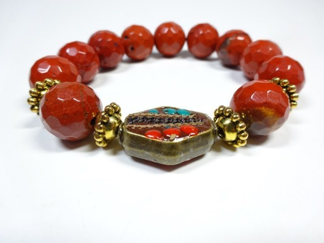 RED STONE BEAD STRETCH BRACELET, TURQUOISE & CORAL ACCE