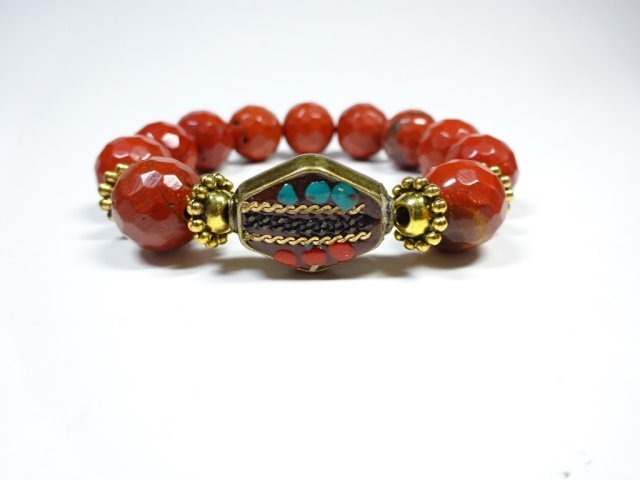 RED STONE BEAD STRETCH BRACELET, TURQUOISE & CORAL ACCE - 2