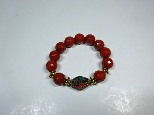 RED STONE BEAD STRETCH BRACELET, TURQUOISE & CORAL ACCE - 4