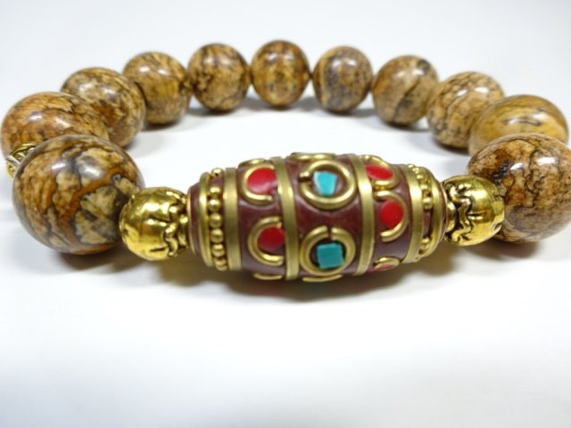 BROWN STONE BEAD STRETCH BRACELET, TURQUOISE & CORAL