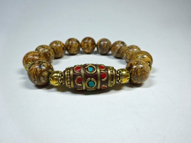 BROWN STONE BEAD STRETCH BRACELET, TURQUOISE & CORAL - 2