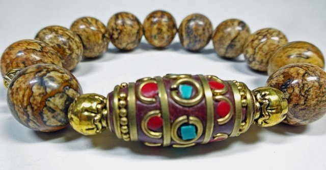 BROWN STONE BEAD STRETCH BRACELET, TURQUOISE & CORAL - 4