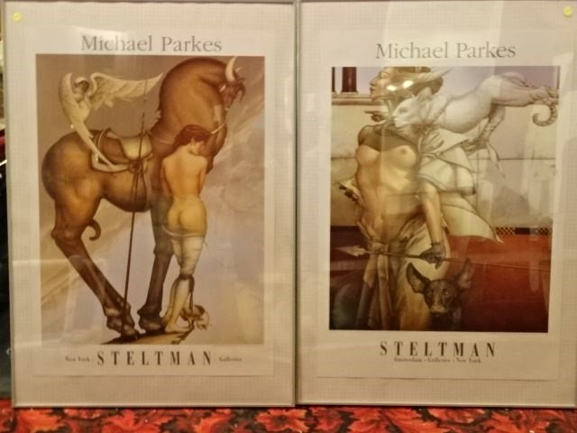 2 LARGE MICHAEL PARKES FRAMED POSTERS, EXHIBITION AT