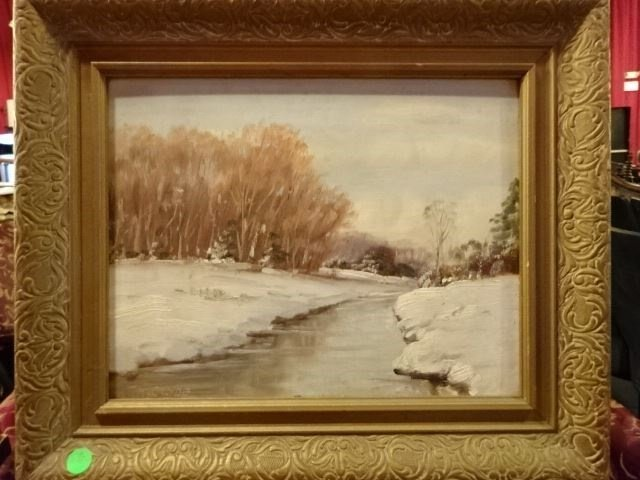 H. CLYDE OIL ON BOARD PAINTING, WINTER LANDSCAPE WITH