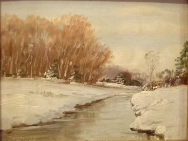 H. CLYDE OIL ON BOARD PAINTING, WINTER LANDSCAPE WITH - 2