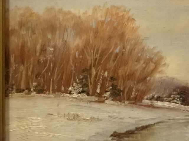 H. CLYDE OIL ON BOARD PAINTING, WINTER LANDSCAPE WITH - 3