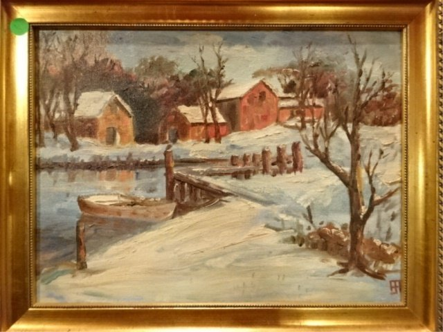 OIL ON CANVAS PAINTING, WINTER LANDSCAPE WITH RIVER,