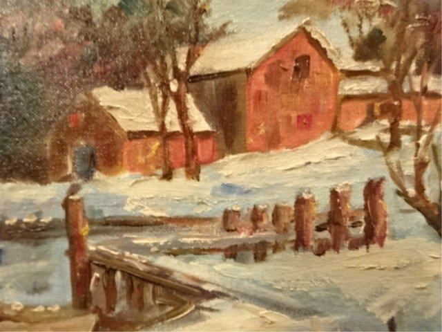 OIL ON CANVAS PAINTING, WINTER LANDSCAPE WITH RIVER, - 3