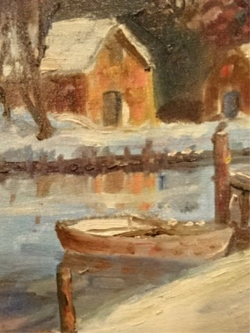 OIL ON CANVAS PAINTING, WINTER LANDSCAPE WITH RIVER, - 4