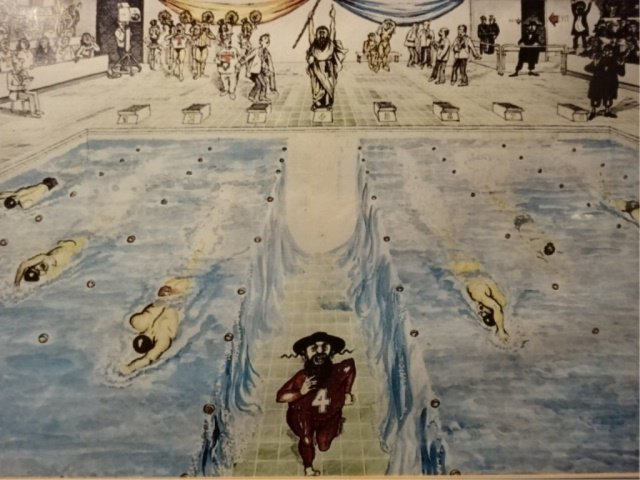 WATERCOLOR PAINTING, RABBI PARTING THE WATER, UNSIGNED,